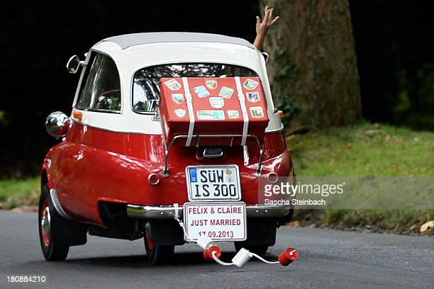Prince Felix Of Luxembourg and Princess Claire of Luxembourg leave Villa Rothschild in a BMW Isetta after taking their vows at their Civil Wedding...