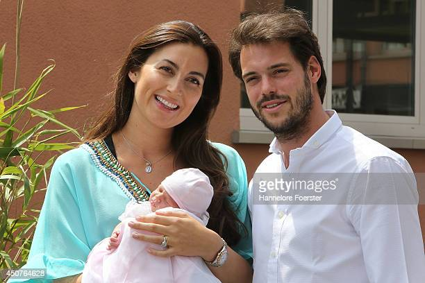 Prince Felix of Luxembourg and Princess Claire of Luxembourg leave with their daughter Princess Amalia, Gabriela, Maria Teresa the Maternity...
