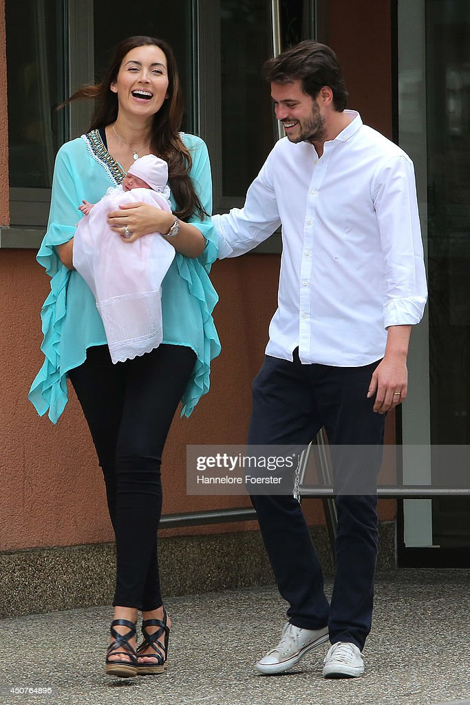 Prince Felix Of Luxembourg And  Princess Claire of Luxembourg Present Their Daughter Princess Amalia, Gabriela, Maria Teresa