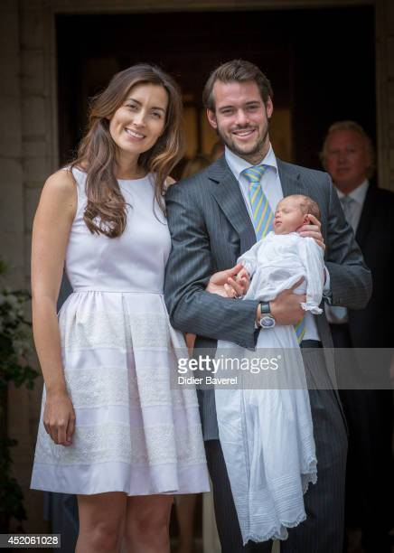 Prince Felix of Luxembourg and Princess Claire of Luxembourg pose with their daughter Princess Amalia of Luxembourg after her Christening ceremony,...