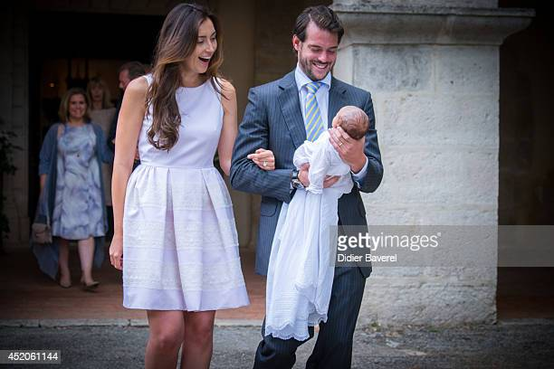Prince Felix of Luxembourg and Princess Claire of Luxembourg pose with their daughter Princess Amalia of Luxembourg after her Christening ceremony at...