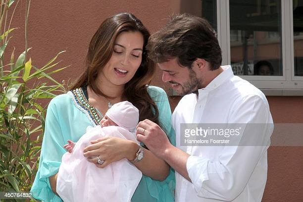 Prince Felix of Luxembourg and Princess Claire of Luxembourg present their daughter Princess Amalia, Gabriela, Maria Teresa on June 17, 2014 in...