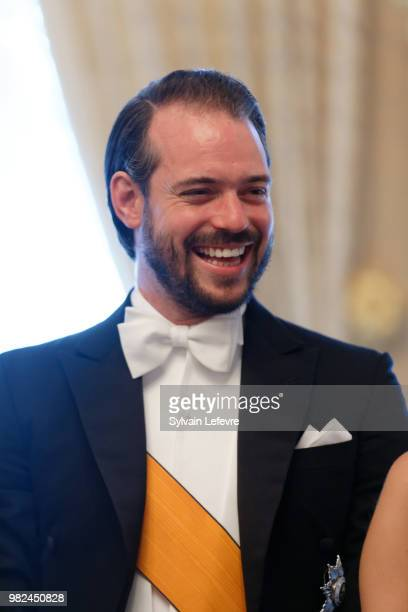 Prince Felix of Luxembourg poses for photographers before the official dinner for National Day at the ducal palace on June 23 2018 in Luxembourg...