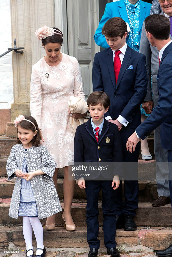 Prince Felix (R) together with his brother Prince Henrik and Princess athena and Princess Marie at the Fredensborg Palace church after Prince Felix' confirmation on April 1, 2017 in Fredensborg, Denmark. Prince Felix is 14 years old and number 8 in succession to the throne.