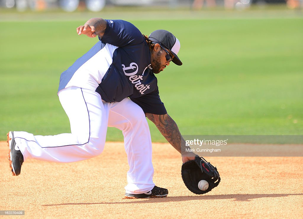 Prince Fielder #28 of the Detroit Tigers fields during Spring Training workouts at the TigerTown Facility on February 21, 2013 in Lakeland, Florida.