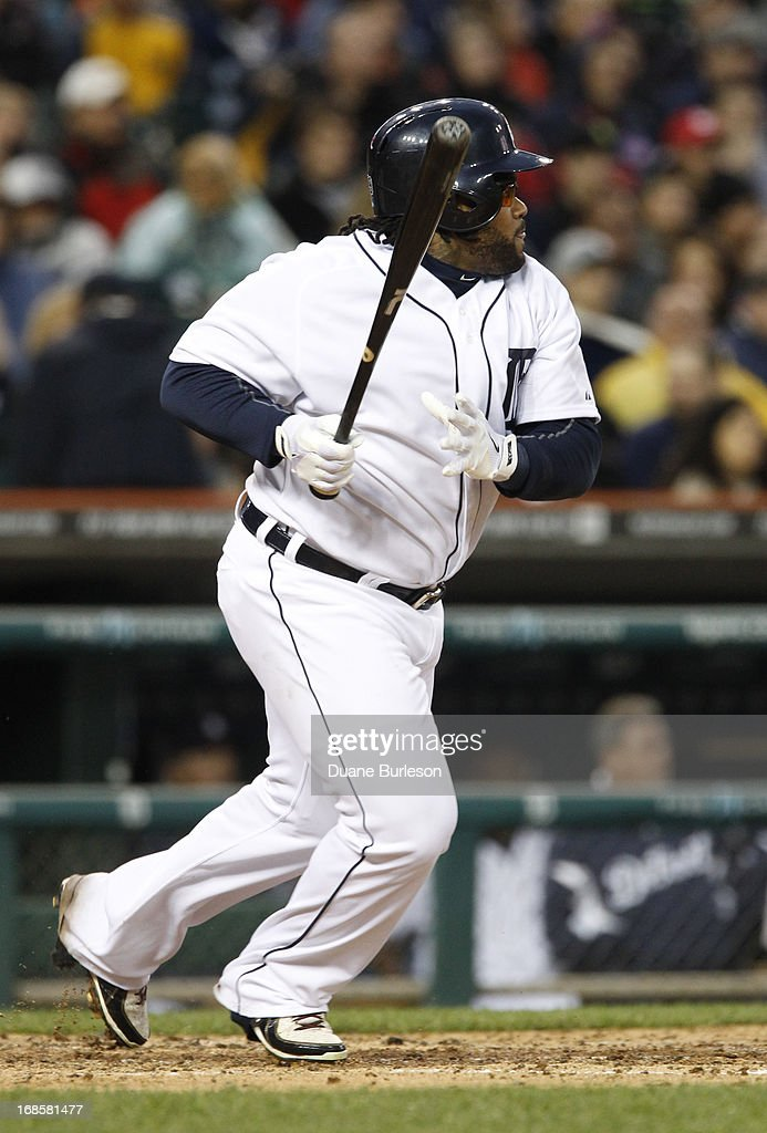 Prince Fielder #28 of the Detroit Tigers hits a double in the fourth inning against the Cleveland Indians at Comerica Park on May 11, 2013 in Detroit, Michigan.