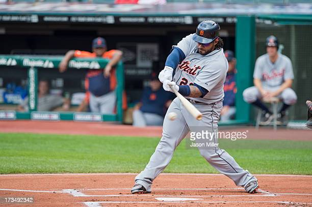 Prince Fielder of the Detroit Tigers hits a ground ball during the first inning against the Cleveland Indians at Progressive Field on July 6 2013 in...