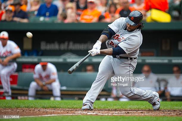Prince Fielder of the Detroit Tigers hits a home run during the game against the Baltimore Orioles at Oriole Park at Camden Yards on June 2 2013 in...