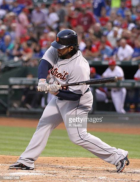 Prince Fielder of the Detroit Tigers hits against the Texas Rangers at Rangers Ballpark on May 17 2013 in Arlington Texas