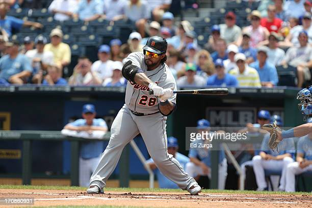Prince Fielder of the Detroit Tigers hits during a game against the Kansas City Royals at Kauffman Stadium on June 12 2013 in Kansas City Missouri