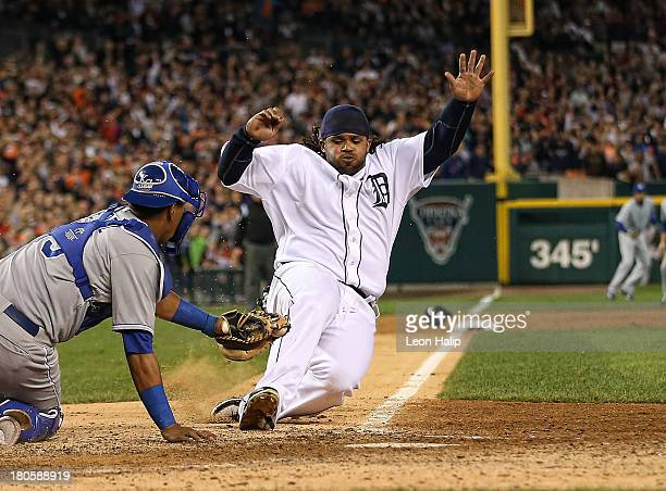 Prince Fielder of the Detroit Tigers is tagged out at home by Salvador Perez of the Kansas City Royals in the ninth inning to end the game at...