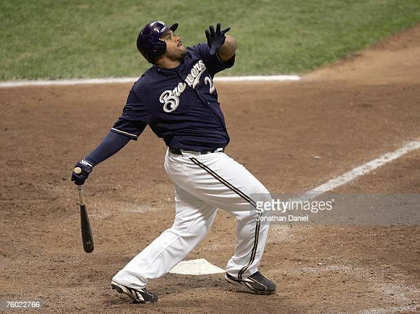Prince Fielder of the Milwaukee Brewers connects with the pitch against the New York Mets on July 31 2007 at Miller Park in Milwaukee Wisconsin