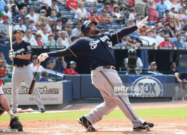 Prince Fielder of the Milwaukee Brewers hits against the Atlanta Braves at Turner Field on August 2 2008 in Atlanta Georgia