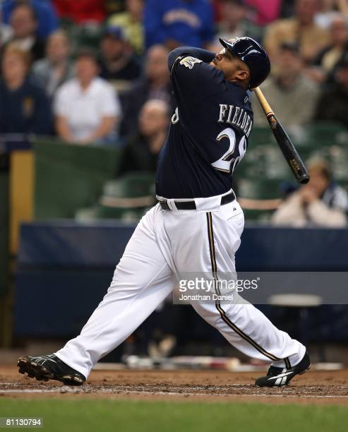 Prince Fielder of the Milwaukee Brewers hits the ball against the Los Angeles Dodgers on May 15, 2008 at Miller Park in Milwaukee, Wisconsin. The...