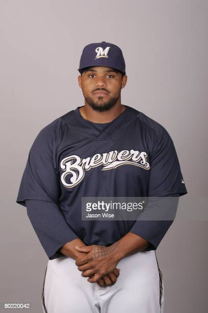Prince Fielder of the Milwaukee Brewers poses for a portrait during photo day at Maryvale Stadium on February 26 2008 in Phoenix Arizona