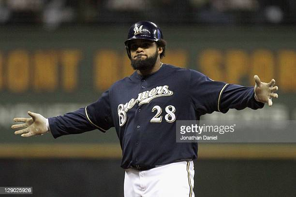 Prince Fielder of the Milwaukee Brewers reacts after he hit a double in the bottom of the fourth inning against the St. Louis Cardinals during Game...