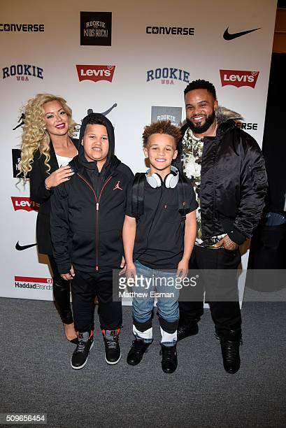 Prince Fielder of the Texas Rangers Chanel Fielder and their children attend Rookie USA Presents Kids Rock Front Row Backstage Fall 2016 New York...