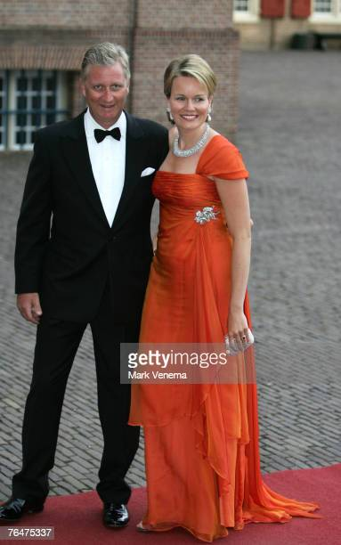 Prince Filip and Princess Mathilde of Belgium arrive at Palace The Loo in Apeldoorn to attend the party marking the 40th birthday of Crown Prince...