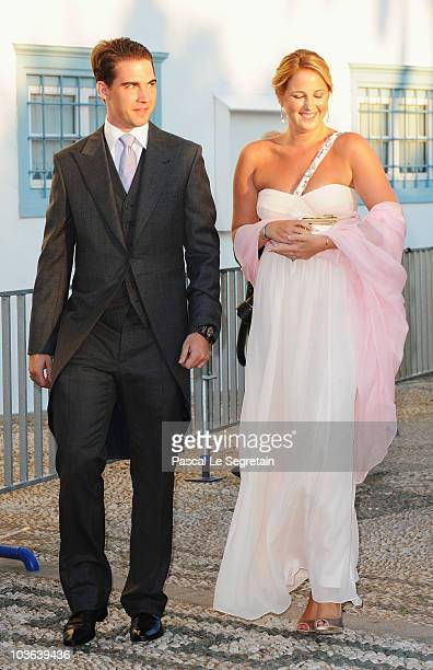Prince Filippos of Greece and Princess Theodora of Greece arrive to attend the wedding of Tatiana Blatnik with Prince Nikolaos of Greece at the...
