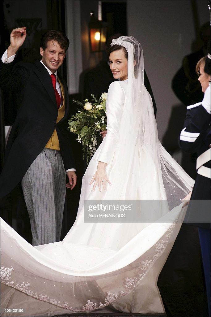 Church wedding ceremony of Prince Floris of the Netherlands and Aimee Sohngen in Naarden, Netherlands on October 22, 2005. : News Photo
