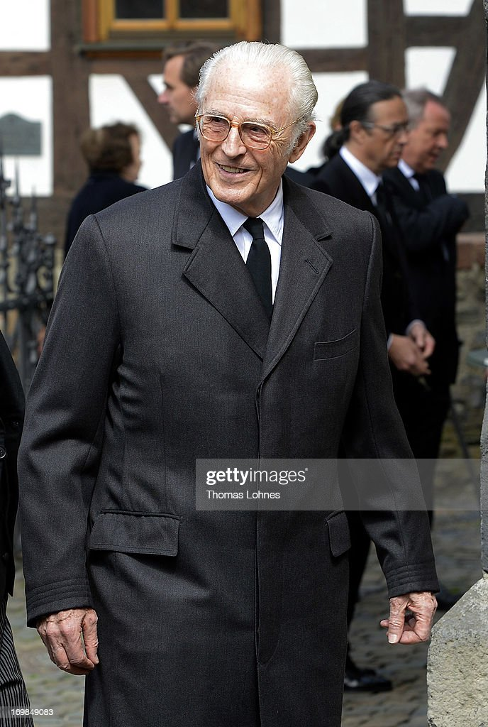 Prince Franz of Bavaria attends the funeral service for Moritz Landgrave of Hesse at Johanniskirche on June 3, 2013 in Kronberg, Germany. Moritz of Hesse died aged 86 years on May 23 in Frankfurt. A great-grandson of the Emperor Frederick III and great-grandson of Queen Victoria, he was related to many European royal families.