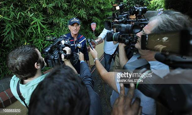 Prince Frederic husband of actress Zsa Zsa Gabor talks to the press as she returned home after being discharged from the UCLA hospital in Bel Air Los...