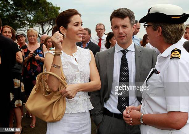 Prince Frederick of Denmark and Princess Mary of Denmark attend a BBQ with special guests at Garden Island on November 20 2011 in Sydney Australia...