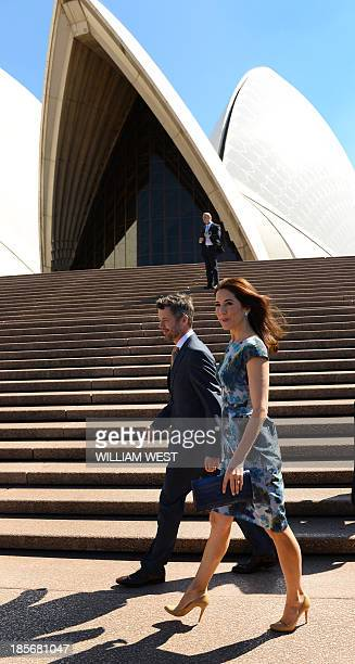 Prince Frederik and Princess Mary of Denmark arrive at the Sydney Opera House on October 24 2013 The royal couple are on an official fiveday visit to...
