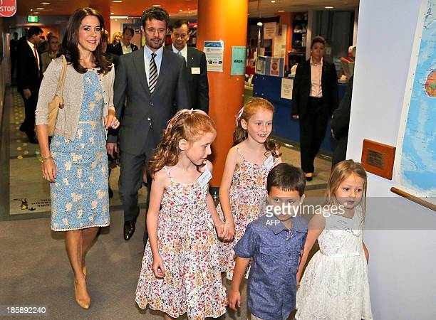 Prince Frederik and Princess Mary of Denmark arrive for a visit to the Australian Twin Registry at the Sydney Children's Hospital on October 26 2013...