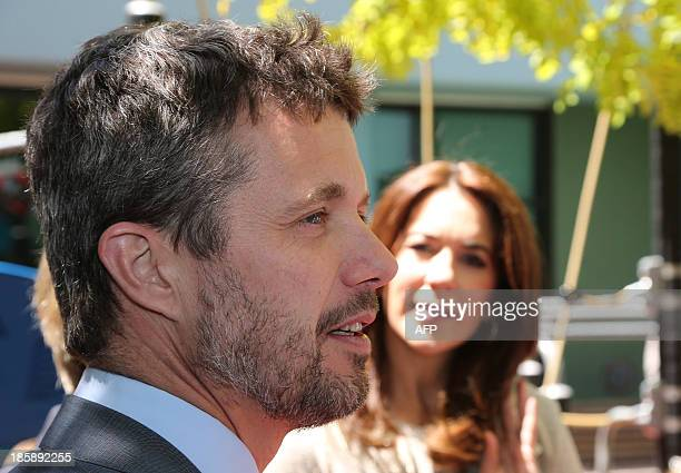 Prince Frederik and Princess Mary of Denmark speak to families during a visit to the Australian Twin Registry at the Sydney Children's Hospital on...