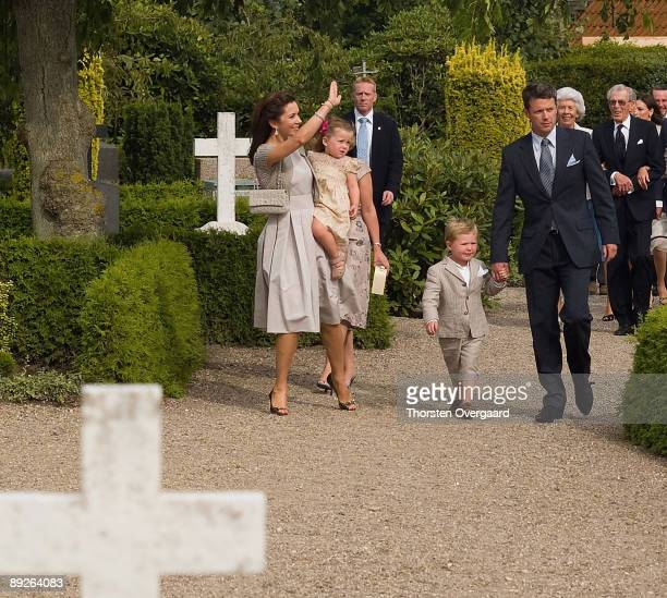 Prince Frederik and Princess Mary with Pincess Isabella and Prince Christian arrive for the Christening of Prince Henrik Carl Joachim Alain of...