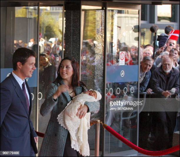 Prince Frederik and wife Princess Mary of Denmark with newborn Prince