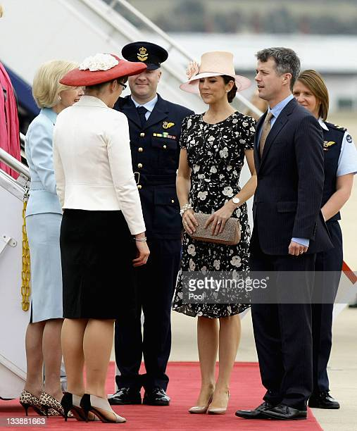 Prince Frederik of Denmark and Princess Mary of Denmark are greeted by the Governor General Quentin Bryce and Senator Kate Lundy as they arrive at...