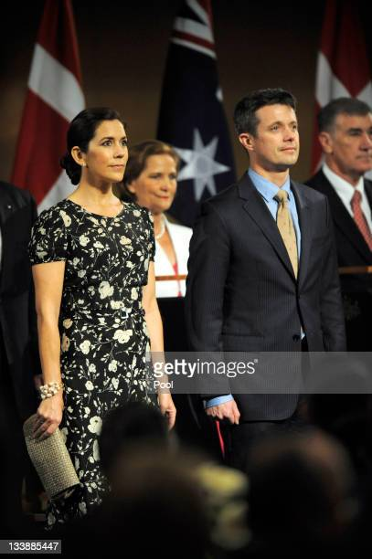 Prince Frederik of Denmark and Princess Mary of Denmark are welcomed during a luncheon given by Prime Minister Julia Gillard at Parliament House on...