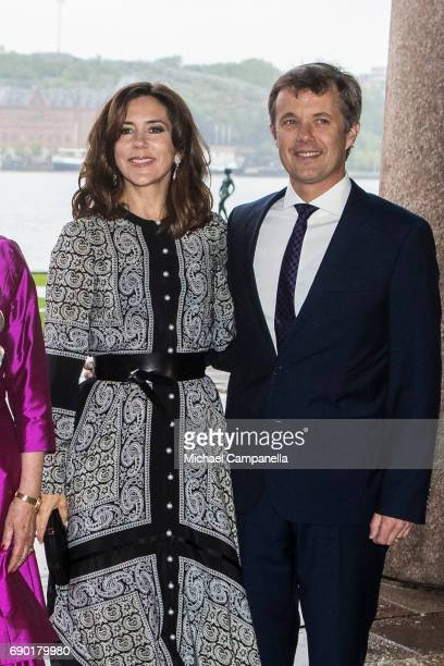Prince Frederik of Denmark and Princess Mary of Denmark arrive Stockholm city hall for an official dinner on May 30 2017 in Stockholm Sweden