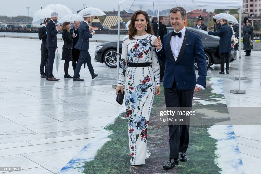 Prince Frederik of Denmark and Princess Mary of Denmark arrives at the Opera House on the occasion of the celebration of King Harald and Queen Sonja of Norway 80th birthdays on May 10 2017 in Oslo, Norway.