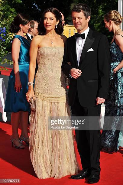 Prince Frederik Of Denmark and Princess Mary of Denmark attend the Government Pre-Wedding Dinner for Crown Princess Victoria of Sweden and Daniel...