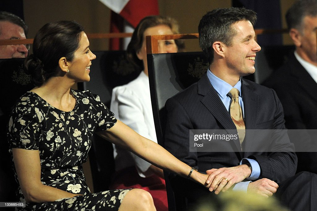 Prince Frederik of Denmark and Princess Mary of Denmark hold hands during their attendance at a luncheon given by Prime Minister Julia Gillard at Parliament House on November 22, 2011 in Canberra, Australia. Princess Mary and Prince Frederik are on their first official visit to Australia since 2008. The Royal visit begins in Sydney, before heading to Melbourne, Canberra and Broken Hill.