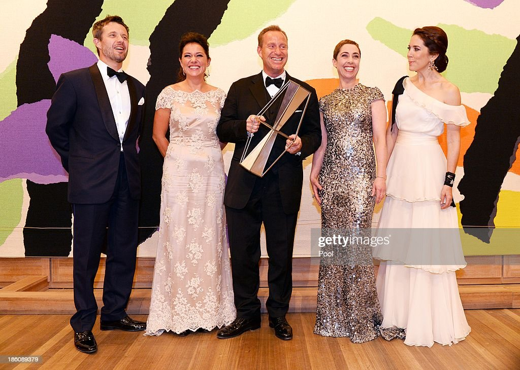 Prince Frederik of Denmark and Princess Mary of Denmark pose with winners of the Crown Prince Couple Awards 2013 Culture Award, actress Sidse Babett Knudsen (2nd L), scriptwriter Adam Price (C) and actress Sofie Grabol (2nd R) for the television series 'The Killing' and 'Borgen' the Crown Prince Couple Awards 2013 at the Sydney Opera House on October 28, 2013 in Sydney, Australia. Prince Frederik and Princess Mary are on a five day visit to Sydney and will attend events to celebrate the 40th anniversary of the Sydney Opera House and the Danish architect who designed the landmark, Jorn Utzen.