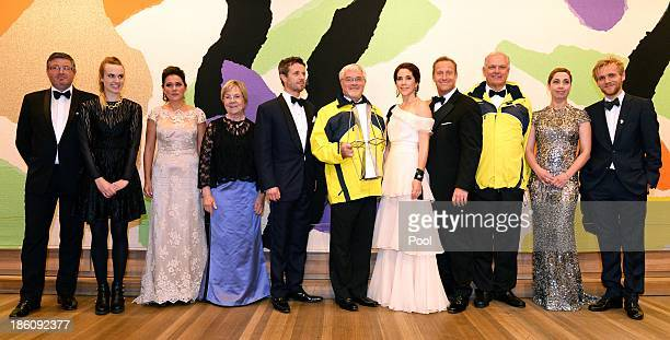 Prince Frederik of Denmark and Princess Mary of Denmark pose with winners of the Crown Prince Couple Awards 2013 held at the Sydney Opera House on...