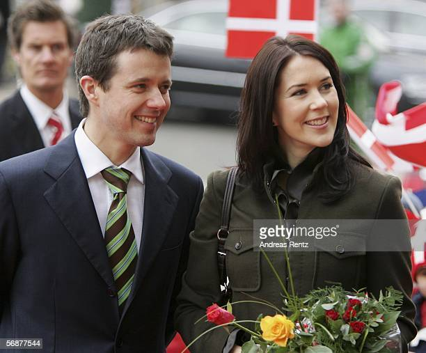 Prince Frederik of Denmark and Princess Mary of Denmark visit a historical bank on February 18, 2006 in Kiel, Germany. Prince Frederik and Princess...