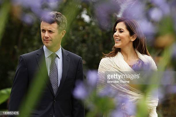 Prince Frederik of Denmark and Princess Mary of Denmark walks the gardens of Government House during their visit to Australia on November 21 2011 in...
