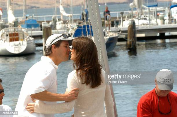 Prince Frederik of Denmark greets and kisses for the first time in public his Australian girlfriend Mary Donaldson on the deck of the Tasmania Yacht...