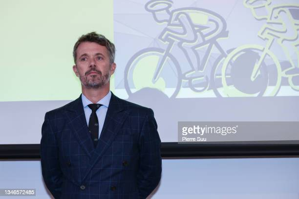 Prince Frederik of Denmark is seen at La Maison Du Danemark during The 109th Tour De France presentation on the Champs Elysees on October 14, 2021 in...