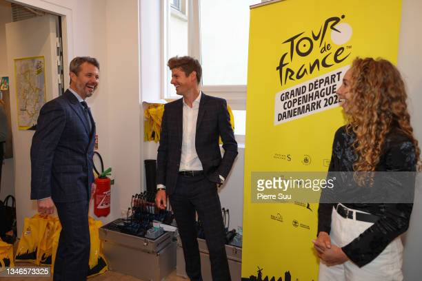Prince Frederik of Denmark is seen with Danish cyclists Jakob Fuglsang and Cecilie Uttrup Ludwig and at La Maison Du Danemark during The 109th Tour...