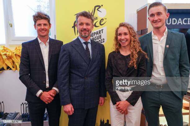 Prince Frederik of Denmark is seen with Danish cyclists Jakob Fuglsang,Cecilie Uttrup Ludwig and Mikkel Bjerg at La Maison Du Danemark during The...