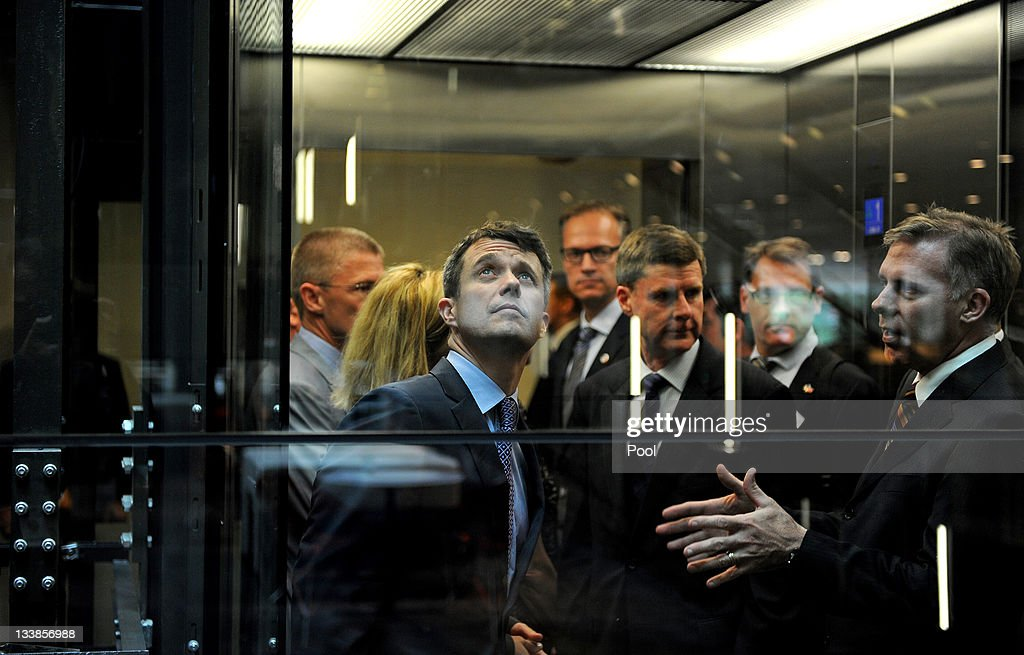 Prince Frederik of Denmark (L), looks out from a lift inside the sustainable Commonwealth Bank building at the Darling Quarter on November 21, 2011 in Sydney, Australia. Princess Mary and Prince Frederik are on their first official visit to Australia since 2008. The Royal visit begins in Sydney, before heading to Melbourne, Canberra and Broken Hill.