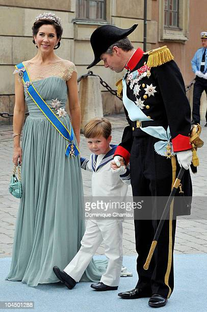 Prince Frederik of Denmark Princess Mary of Denmark and son Prince Christian attend the wedding of Crown Princess Victoria of Sweden and Daniel...