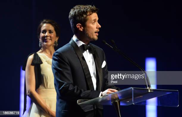 Prince Frederik of Denmark speaks at the Sydney Opera House as Princess Mary of Denmark looks on as they attend the Crown Prince Couple Awards 2013...
