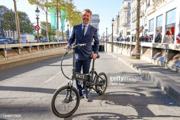 Prince Frederik of Denmark visits stands of Danish companies in front of La Maison Du Danemark on the Champs Elysees on October 14, 2021 in Paris,...